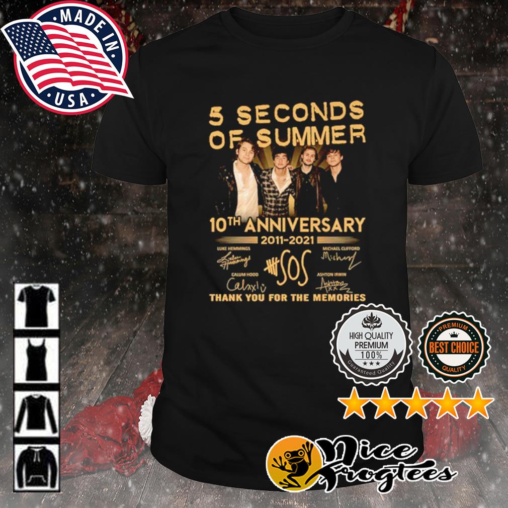 5 Seconds Of Summer 10th anniversary 2011 2021 thank you for the memories signature shirt