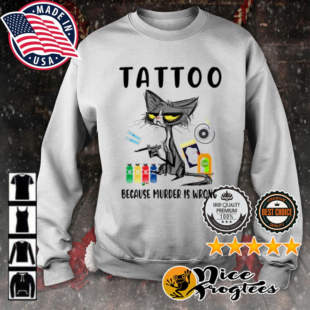 Grumpy cat tattoo because murder is wrong s sweater