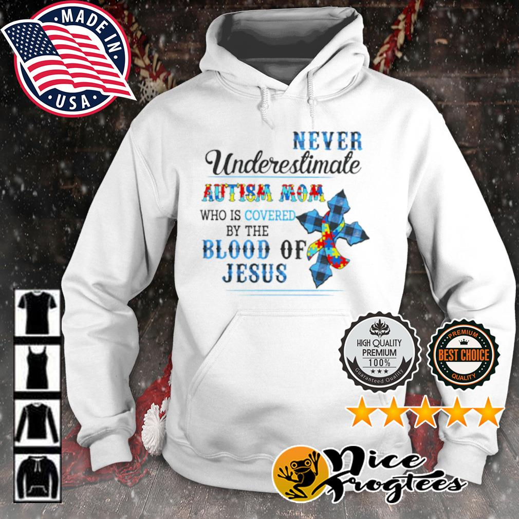 Never underestimate autism mom who is covered by the blood of jesus s hoodie