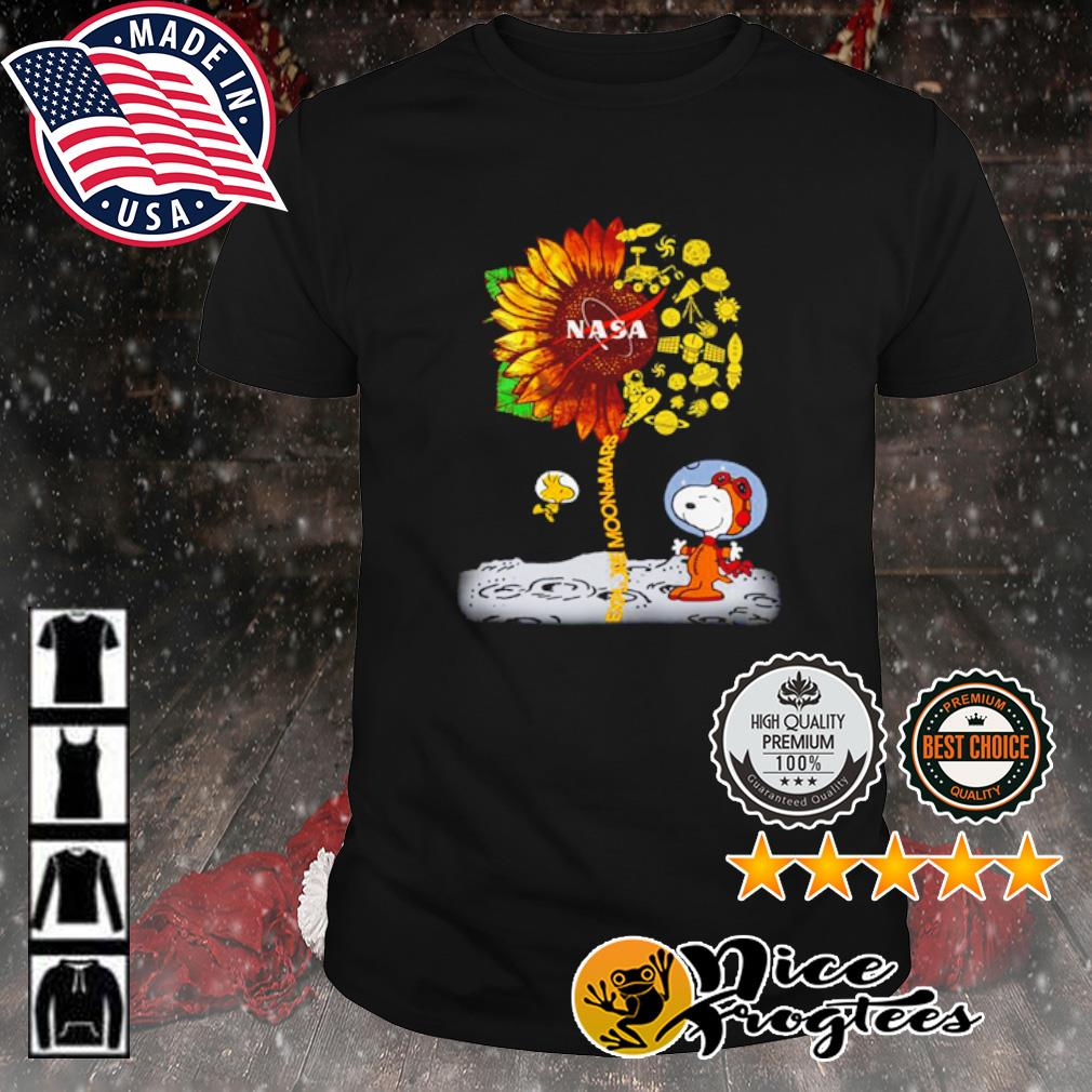 Snoopy and Woodstock explore moon to Mars NASA sunflower shirt