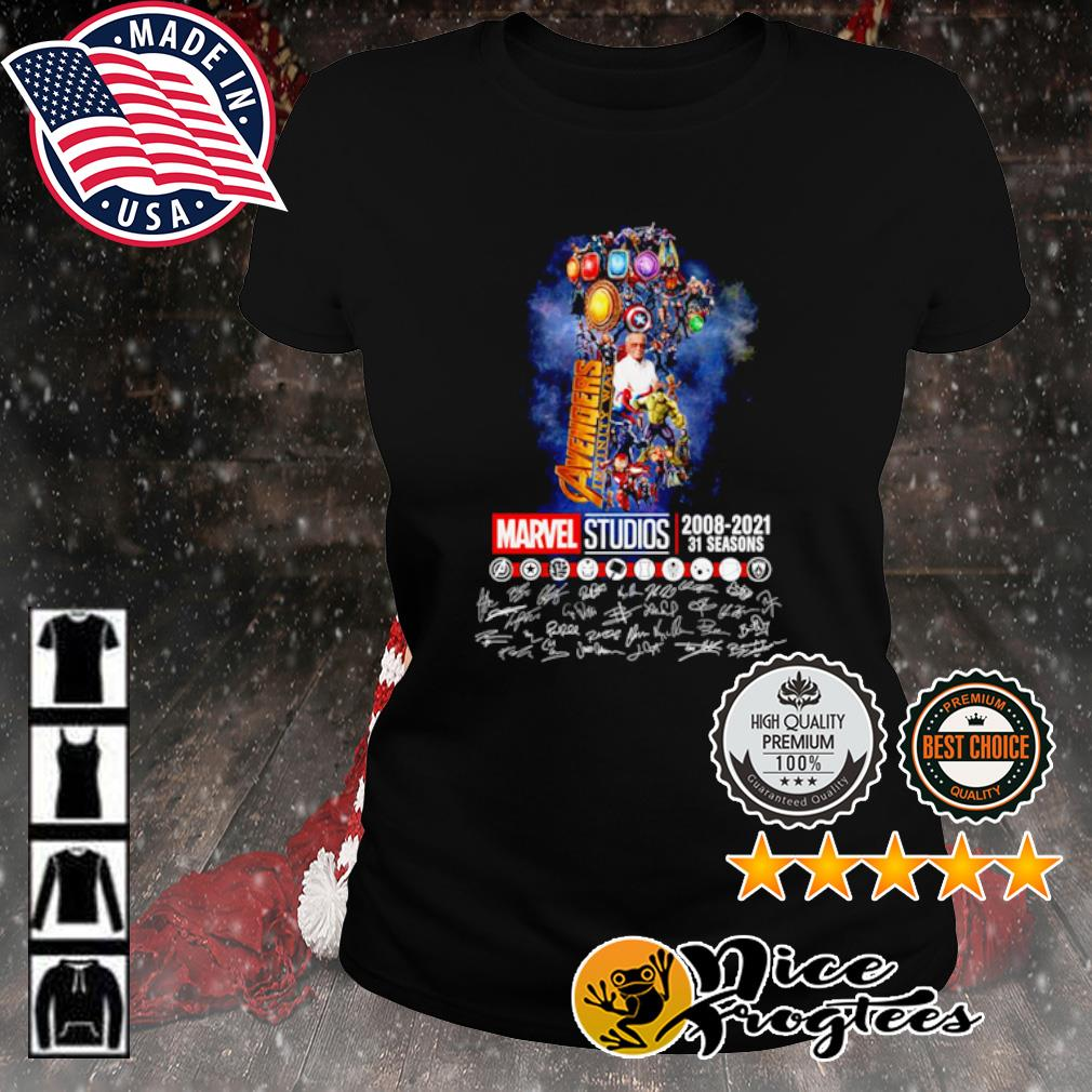 The Infinity Gauntlet Avengers Infinity War Marvel Studios 2008 2021 31 seasons signature s ladies-tee