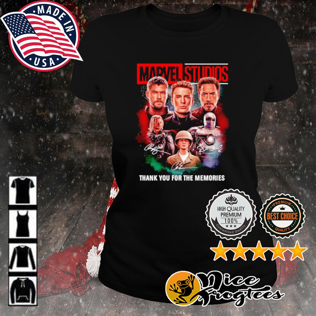 Thor Captain America and Iron Man Marvel Studios thank you for the memories signature s ladies-tee