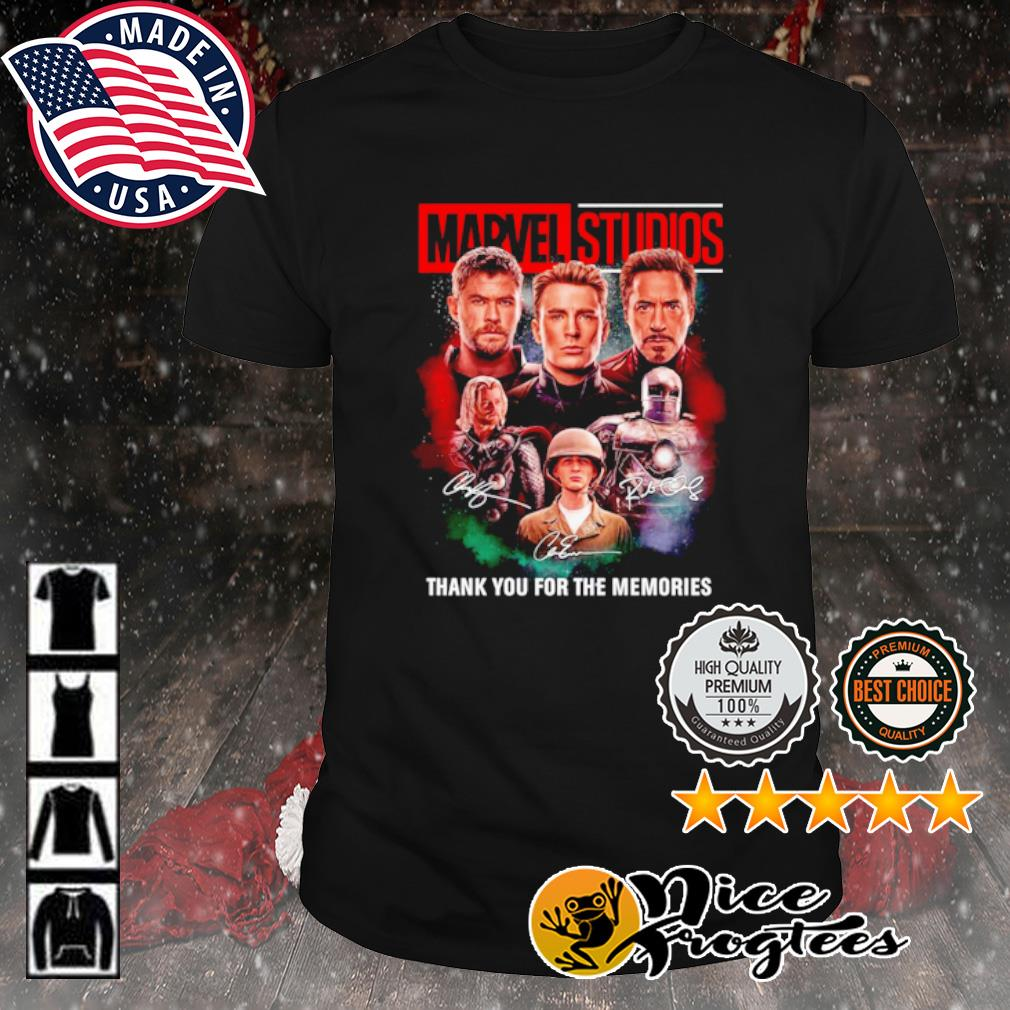 Thor Captain America and Iron Man Marvel Studios thank you for the memories signature shirt