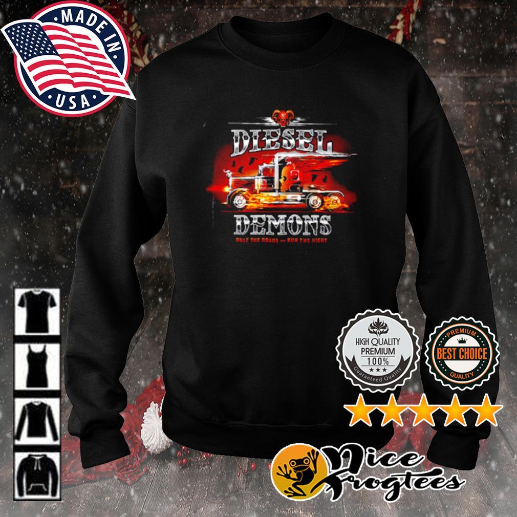 Truckers diesel demon rule the roads run the night s sweater