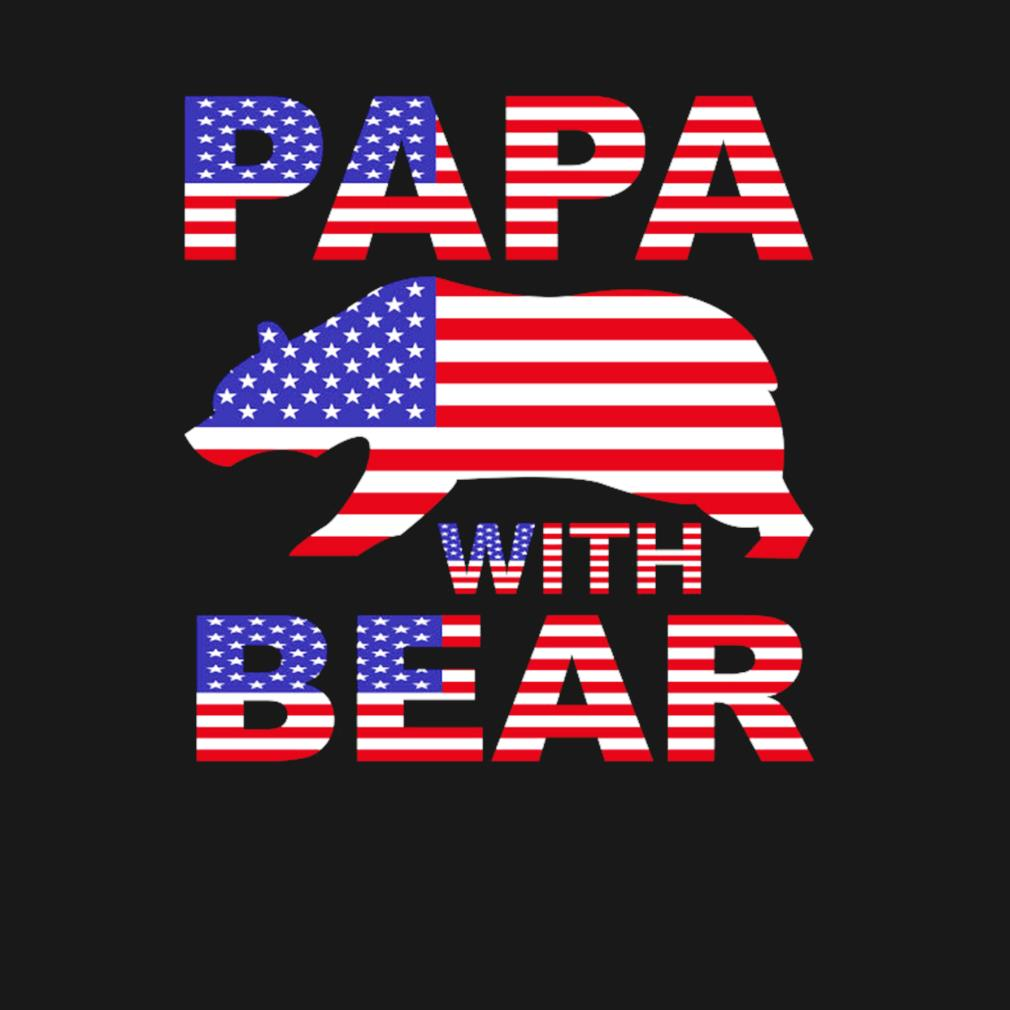 Papa with bear American flag s t-shirt