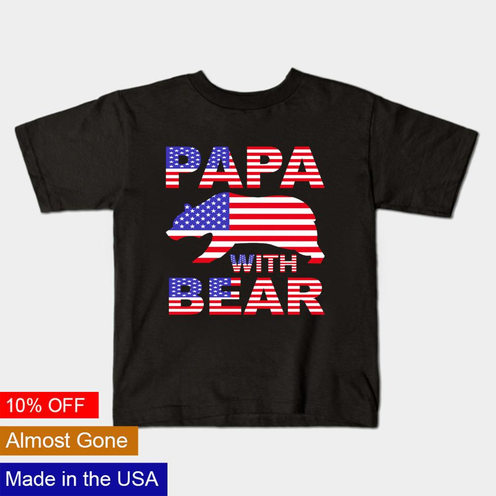 Papa with bear American flag shirt