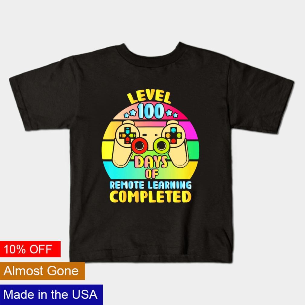 Level 100 days of remote learning completed vintage shirt