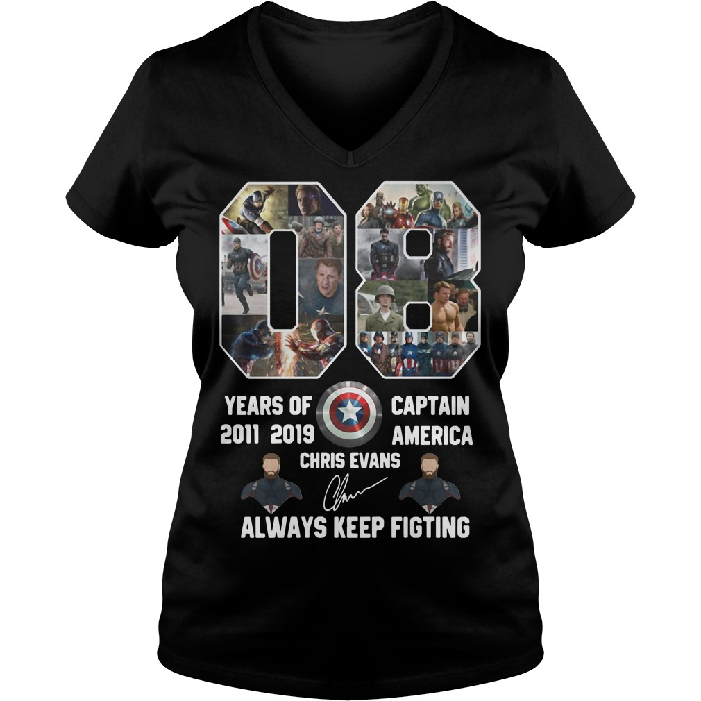 08 years of Captain America 2011 2019 Chris Evans signature always keep fighting V-neck t-shirt