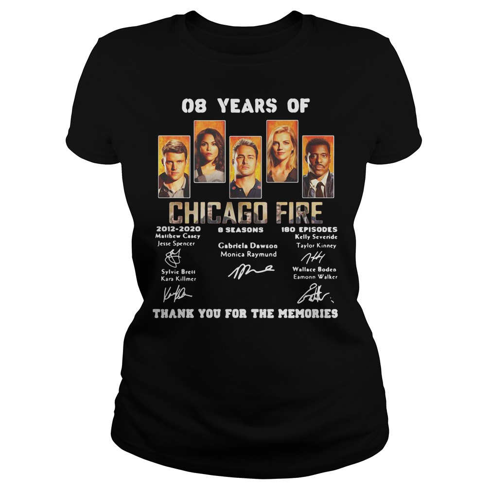 08 years of Chicago Fire 2012 2020 8 seasons 180 episodes signature Ladies tee