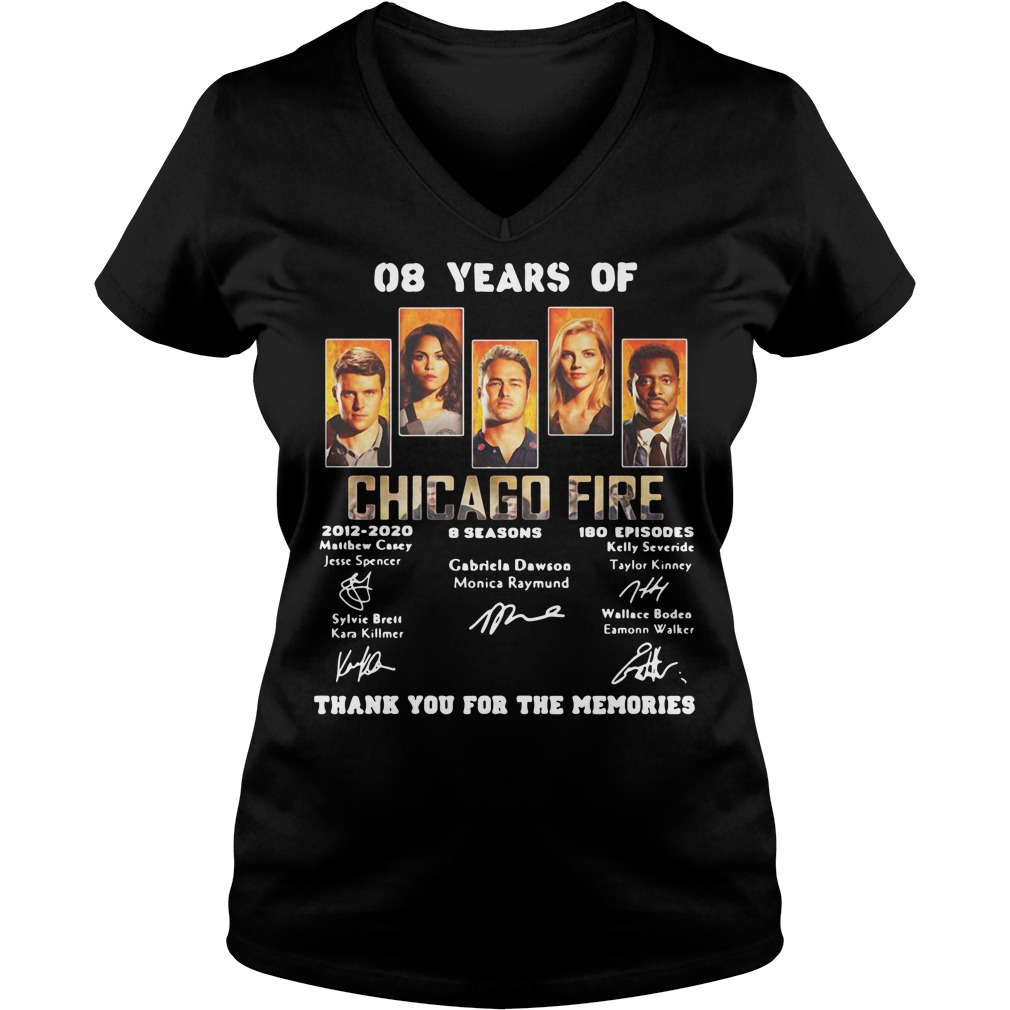 08 years of Chicago Fire 2012 2020 8 seasons 180 episodes signature V-neck t-shirt