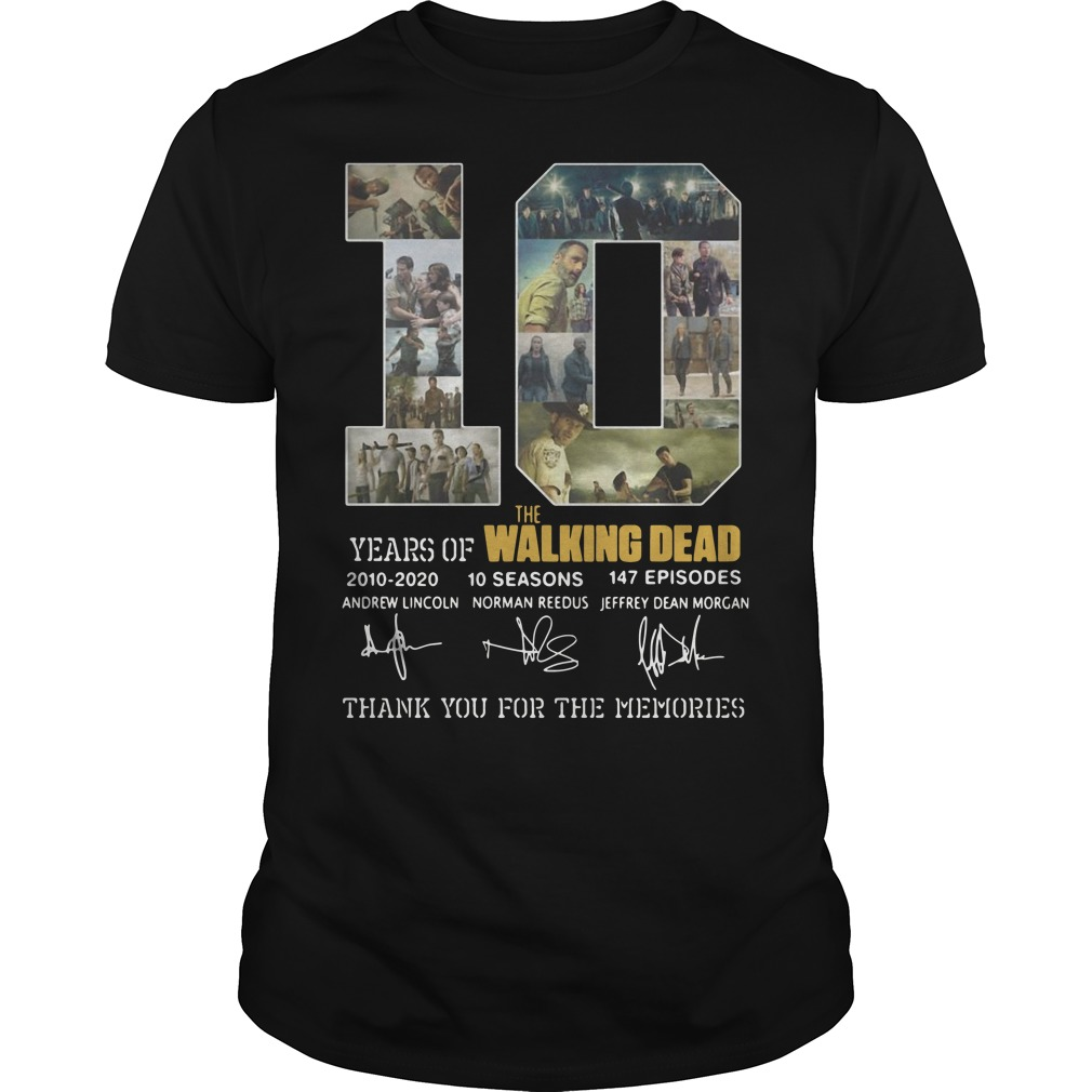 10 years of The Walking Dead 2010 2020 10 seasons 147 episodes signature Guys shirt