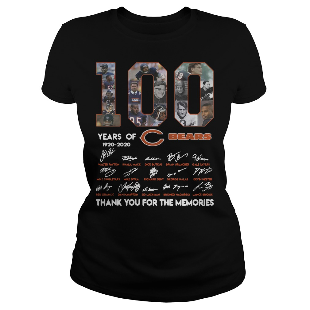 100 years of Chicago Bears 1920 2020 signature thank you for the memories Ladies tee