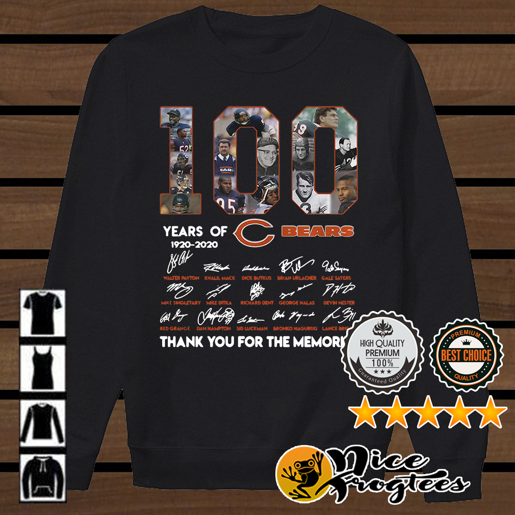 100 years of Chicago Bears 1920 2020 signature thank you for the memories shirt