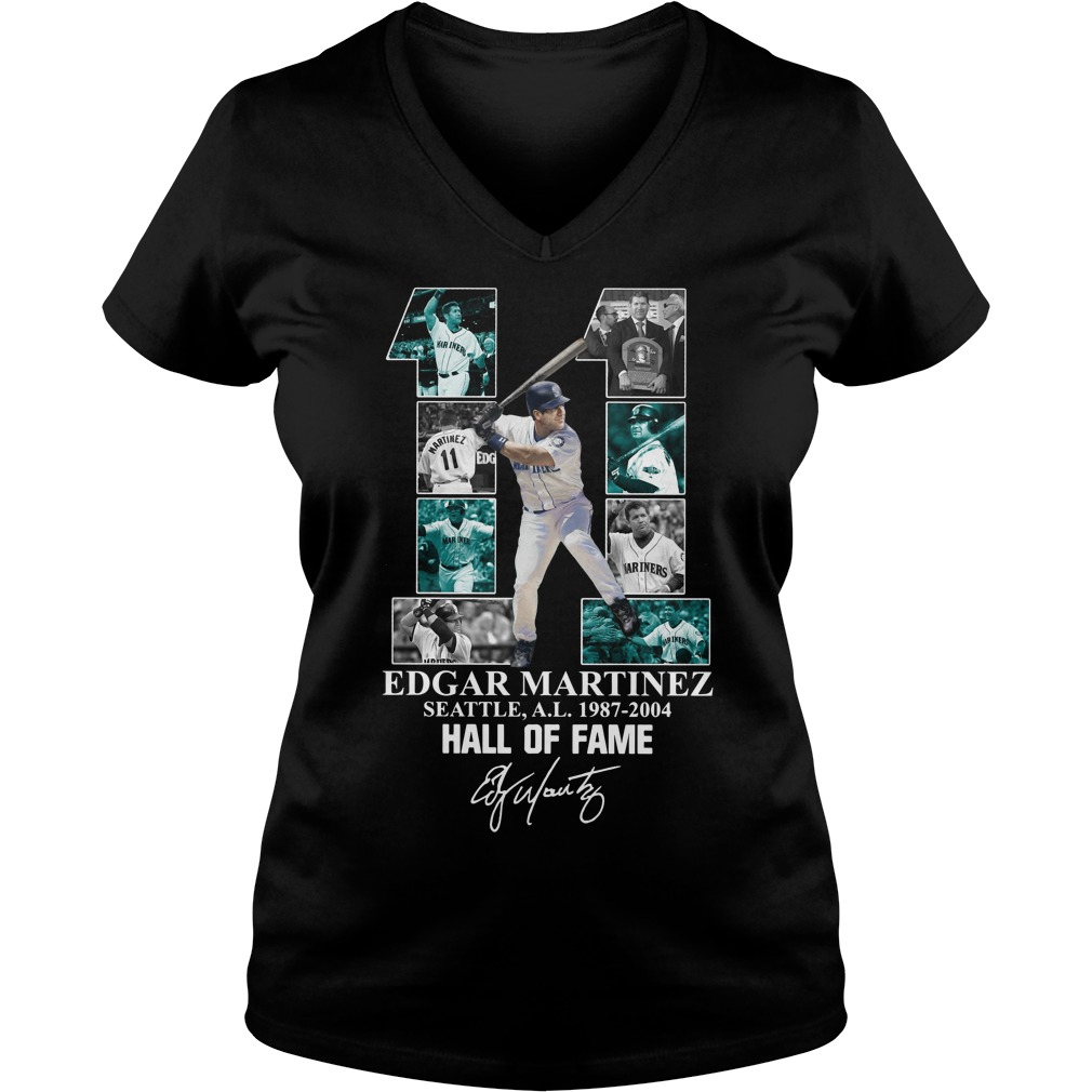 11 Edgar Martinez Seattle 1987-2004 Hall of Fame signature V-neck T-shirt