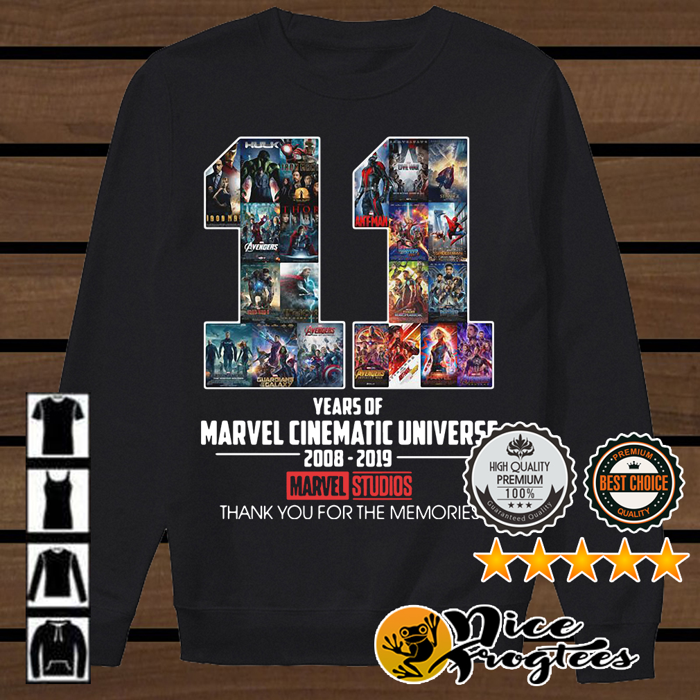 11 years of Marvel Cinematic Universe 2008 2019 Marvel Studios thank you shirt