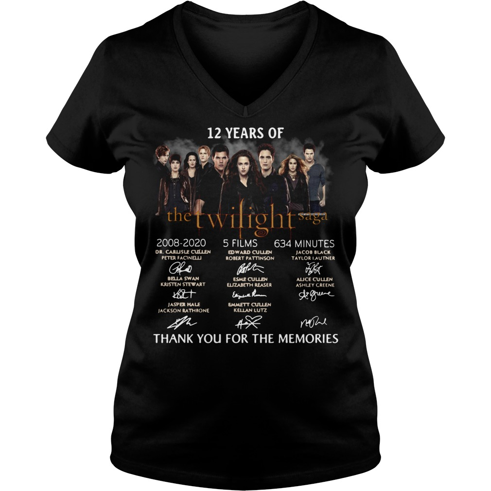 12 years of the Twilight Saga 2008 2020 5 films 634 minutes signature thank you for the memories V-neck t-shirt
