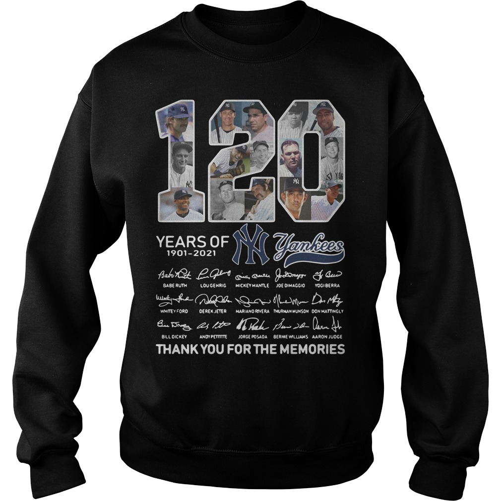 120 years of New York Yankees signature thank you for the memories Sweater