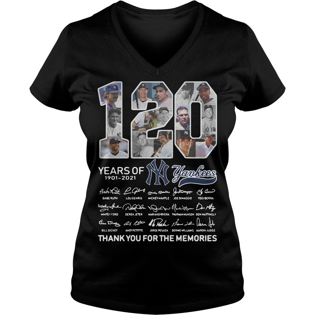 120 years of New York Yankees signature thank you for the memories V-neck t-shirt