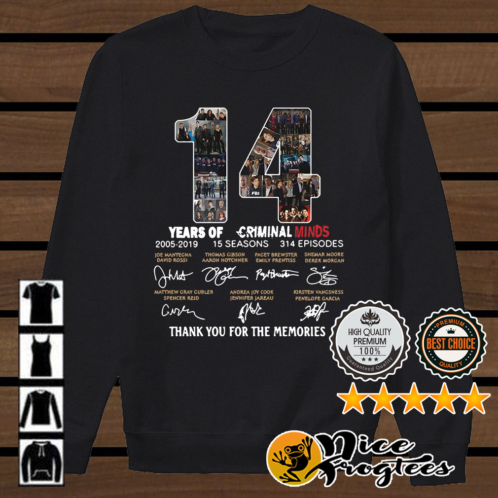 14 years of Criminal Minds 2005 2019 thank you for the memories shirt