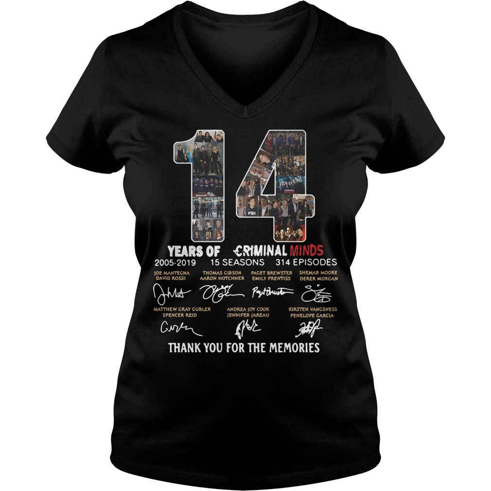 14 years of Criminal Minds 2005 2019 thank you for the memories V-neck t-shirt
