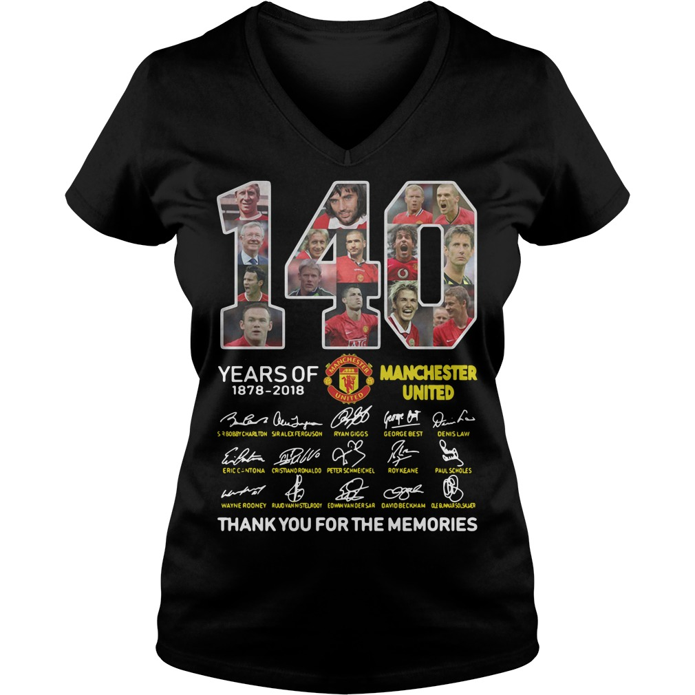 140 years of Manchester United 1878 2018 signature thank you for the memories V-neck t-shirt