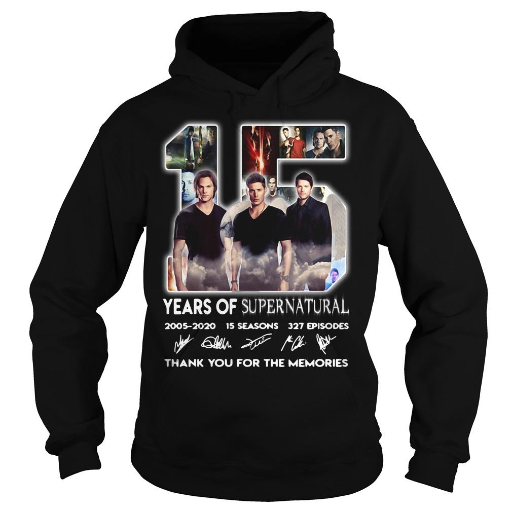 15 years of Supernatural 2005 2020 15 seasons 327 episodes signature Hoodie