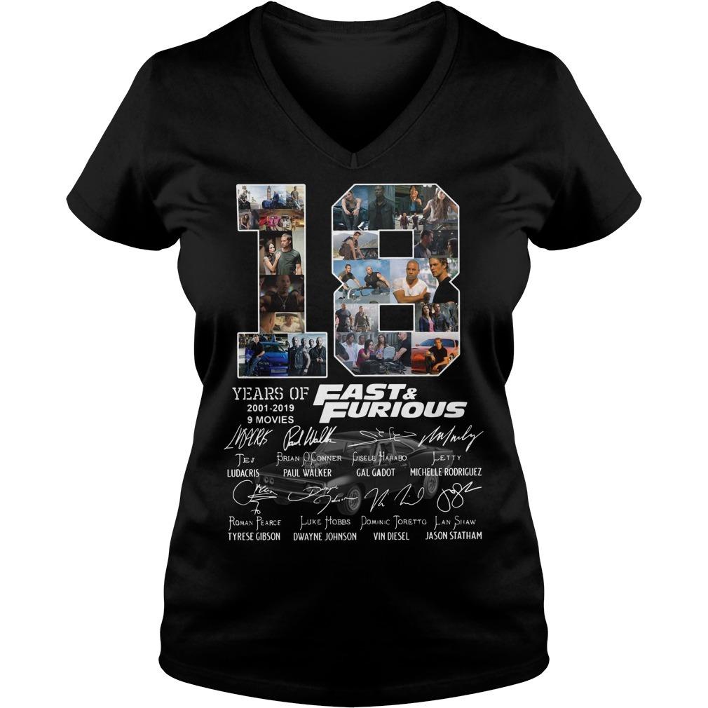 18 Years of Fast and Furious 2001-2019 9 movies signatures V-neck T-shirt