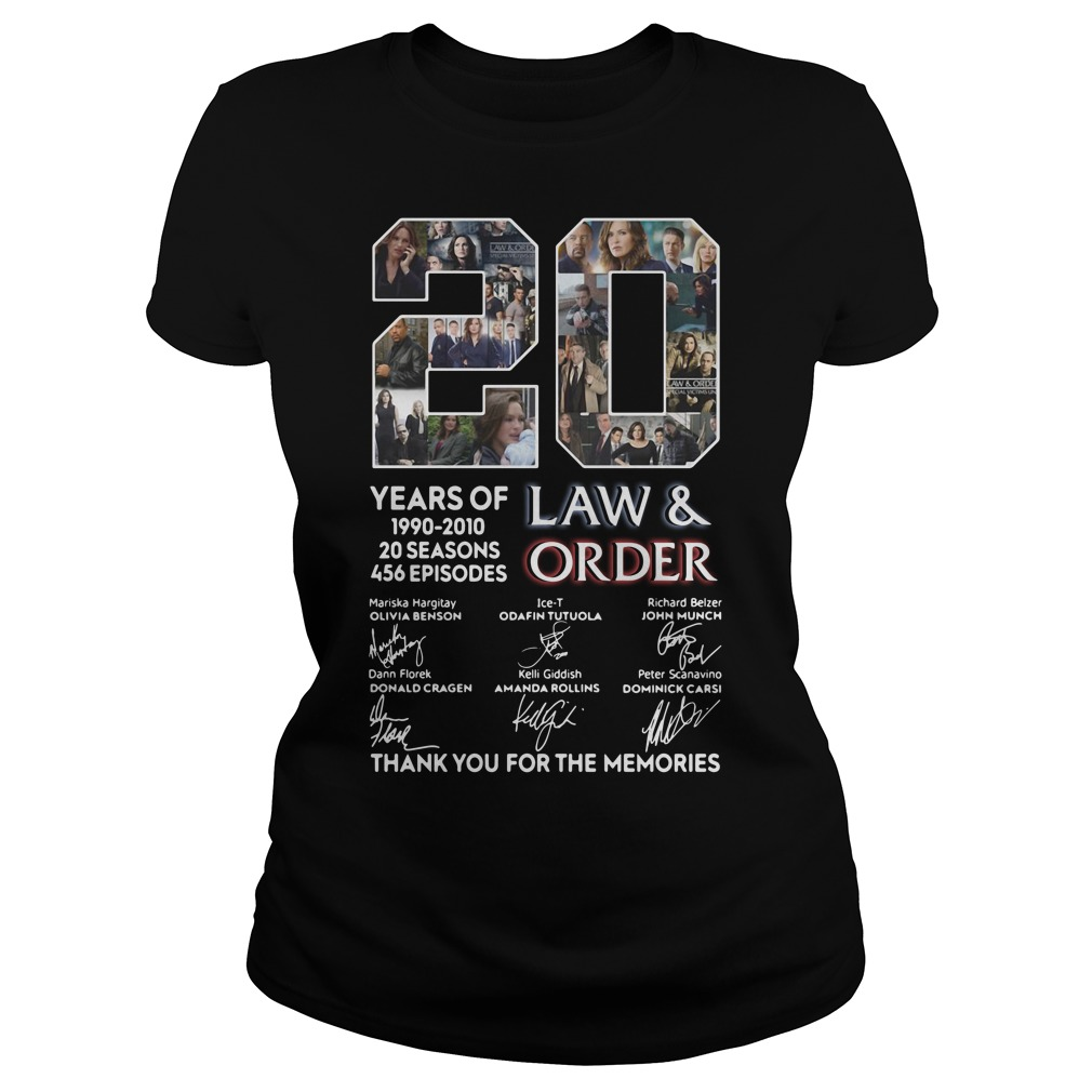 20 years of Law and Order 1990 2010 20 seasons 456 episodes signature Ladies tee