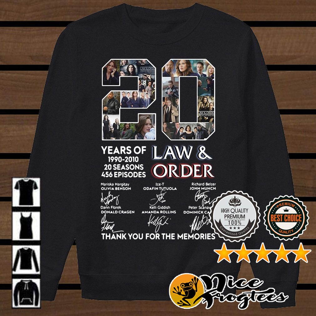 20 years of Law and Order 1990 2010 20 seasons 456 episodes signature shirt