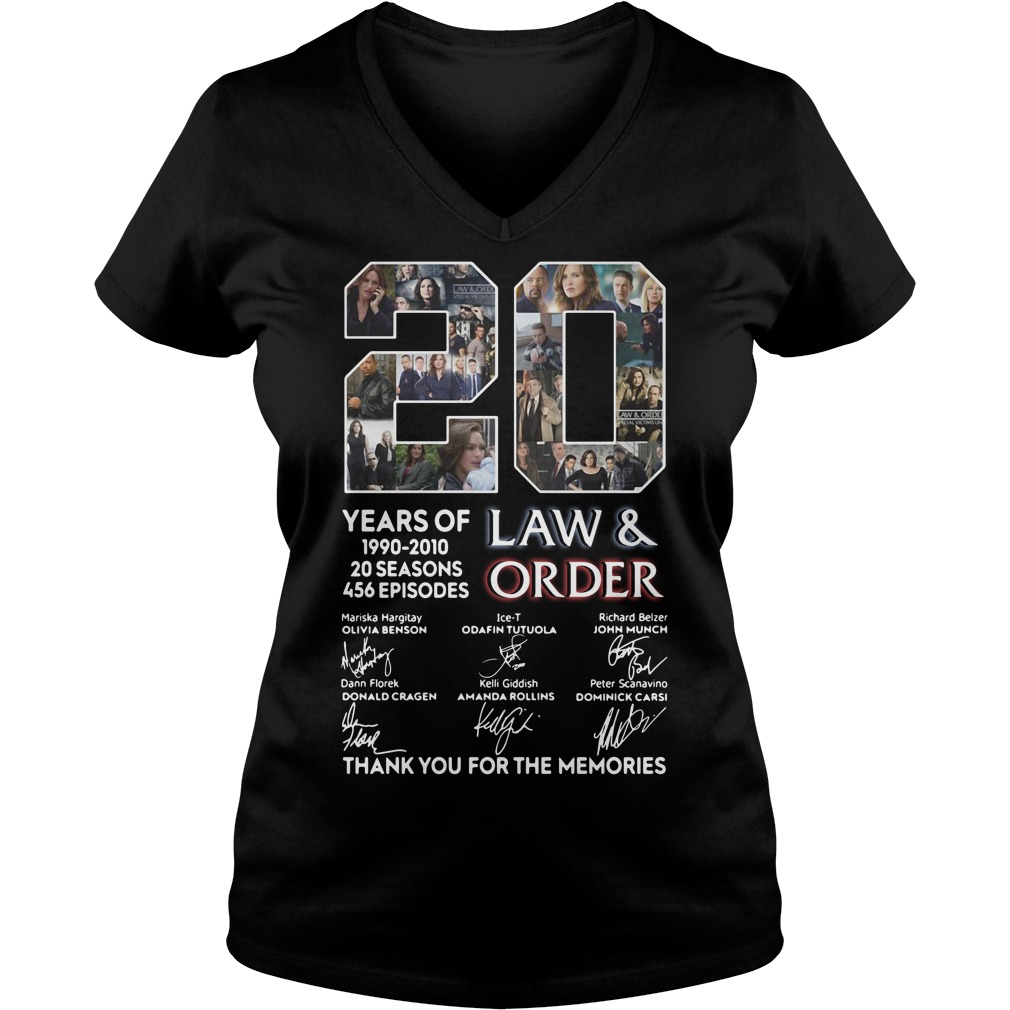 20 years of Law and Order 1990 2010 20 seasons 456 episodes signature V-neck t-shirt