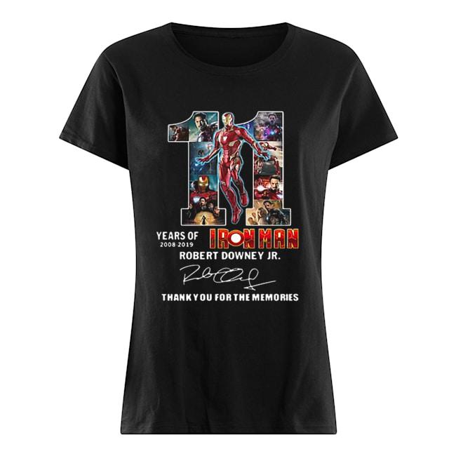 11 years of Iron Man 2008 2019 Robert Downey Jr signature  Classic Women's T-shirt