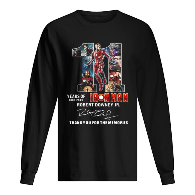 11 years of Iron Man 2008 2019 Robert Downey Jr signature  Long Sleeved T-shirt