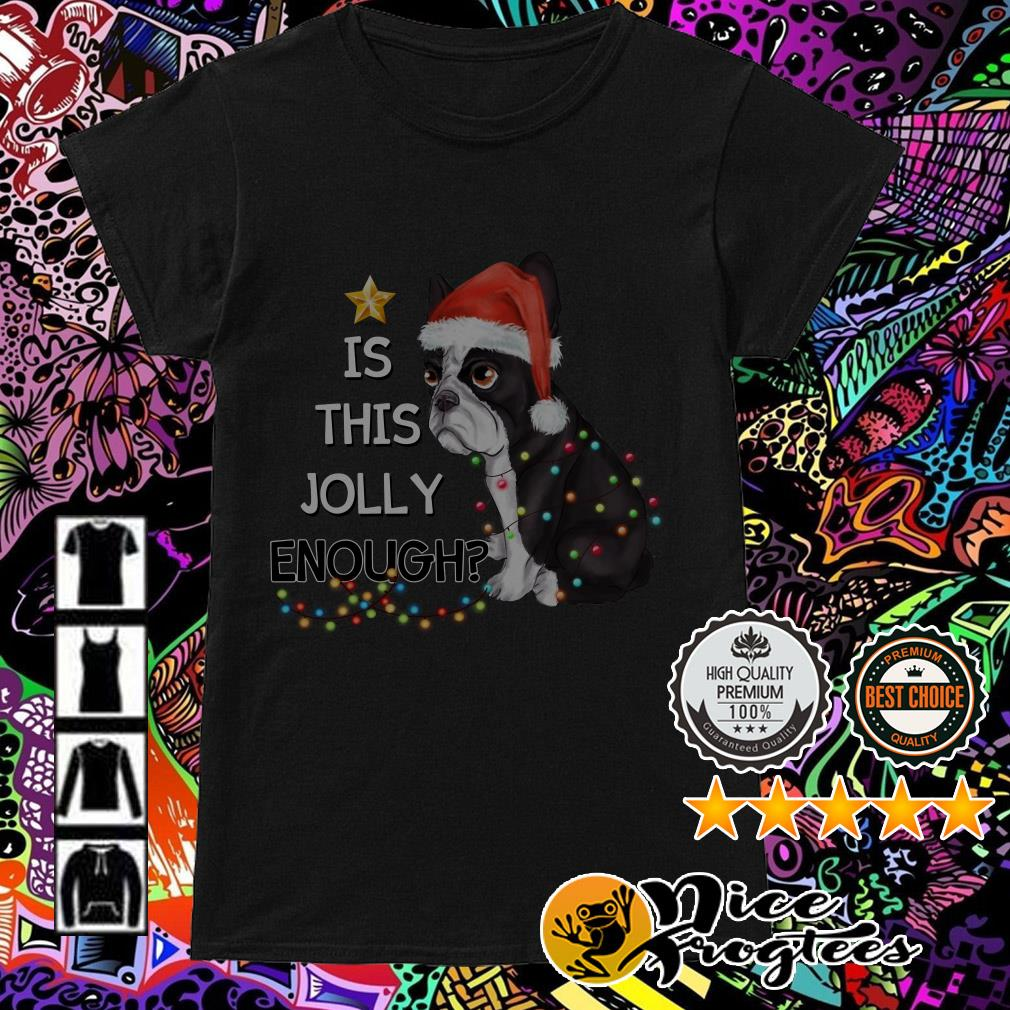 Bulldog is this Jolly enough Christmas Ladies Tee