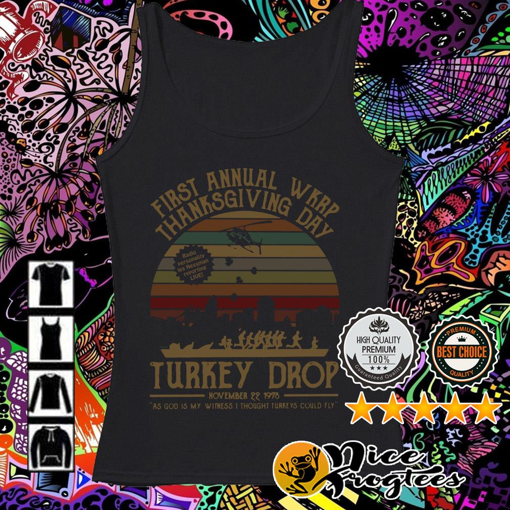 First Annual WKRP thanksgiving day turkey drop sunset Tank top