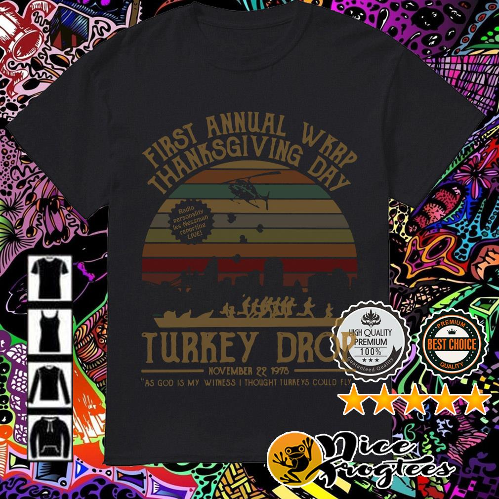 First Annual WKRP thanksgiving day turkey drop sunset shirt
