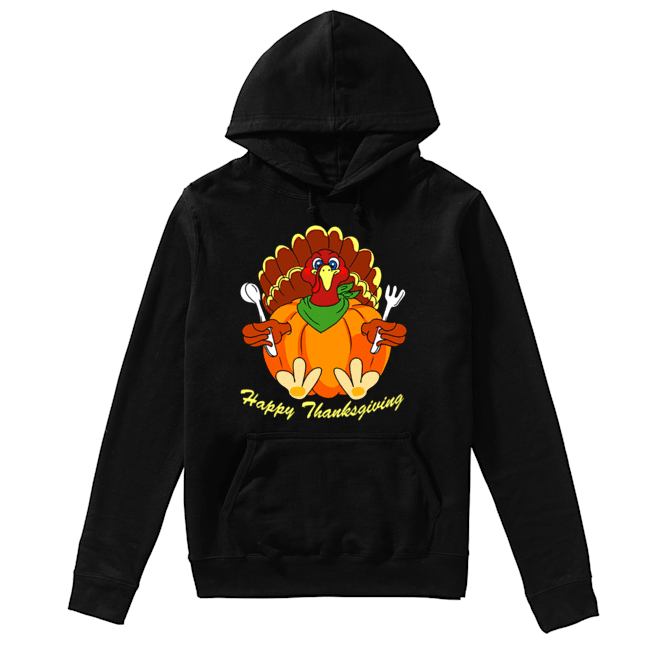 Happy Thanksgiving Hungry Turkey Holding Shirt Unisex Hoodie