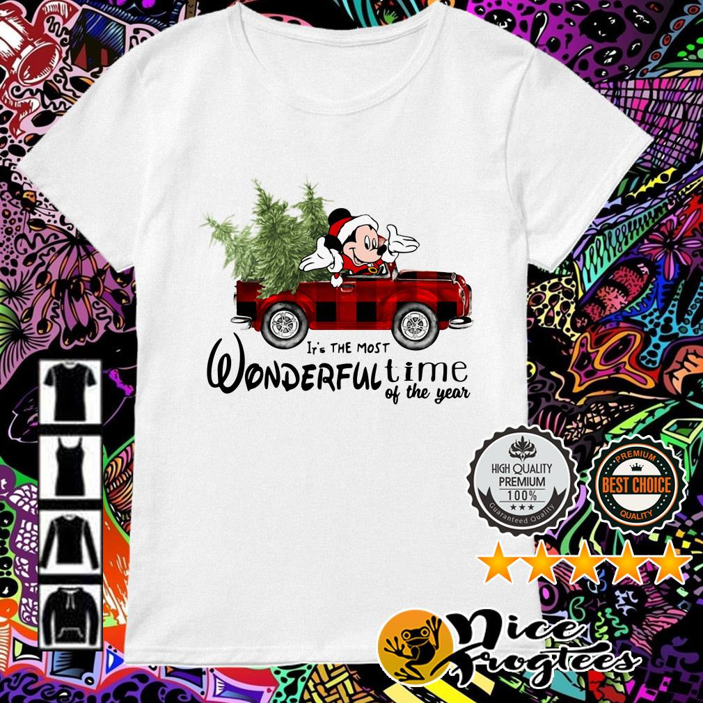 Mickey Mouse driving car it's the most wonderful time of the year Christmas Ladies Tee