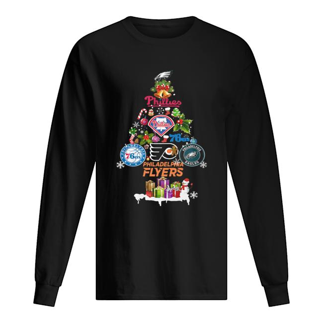 Philadelphia Flyers Christmas Tree Shirt Long Sleeved T-shirt
