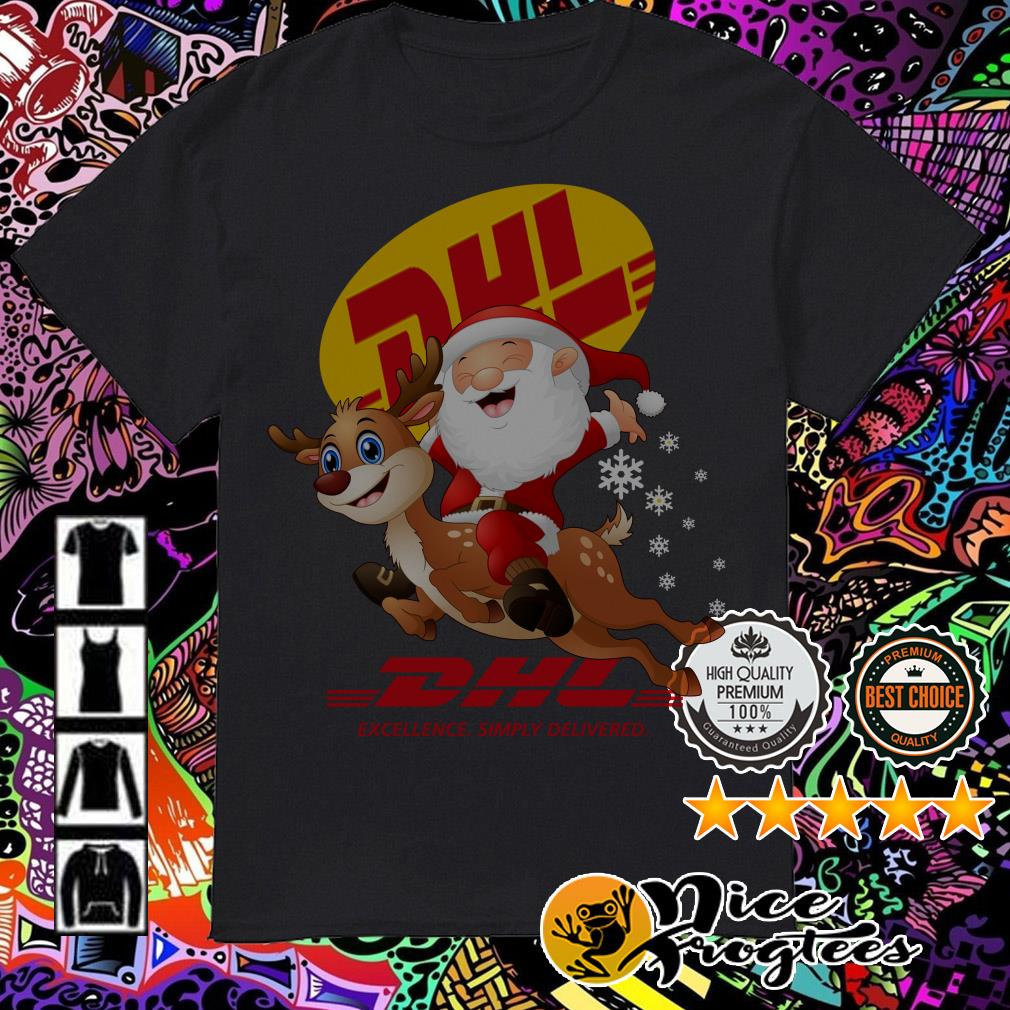 Satan Claus riding reindeers DHL excellence simply delivered shirt, sweater, hoodie