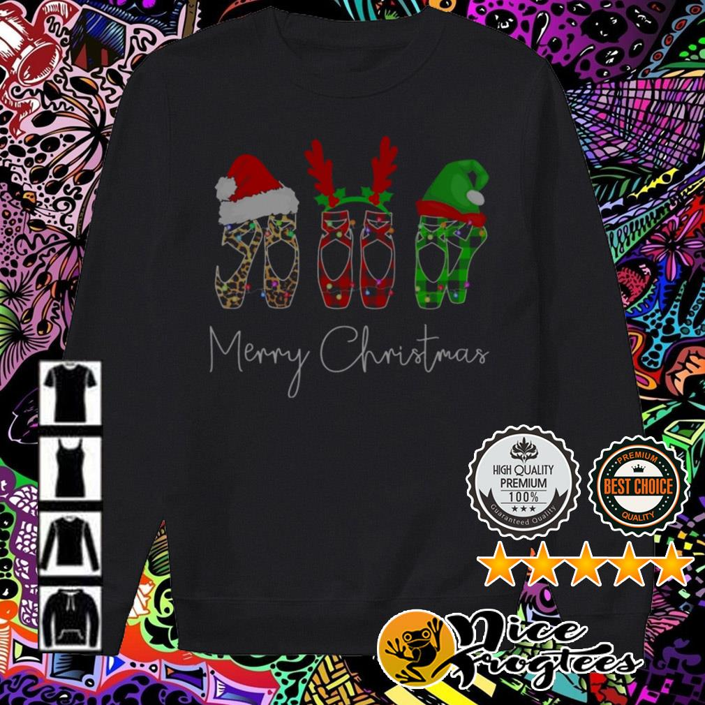 Ballet Shoe Santa reindeer Merry Christmas sweater