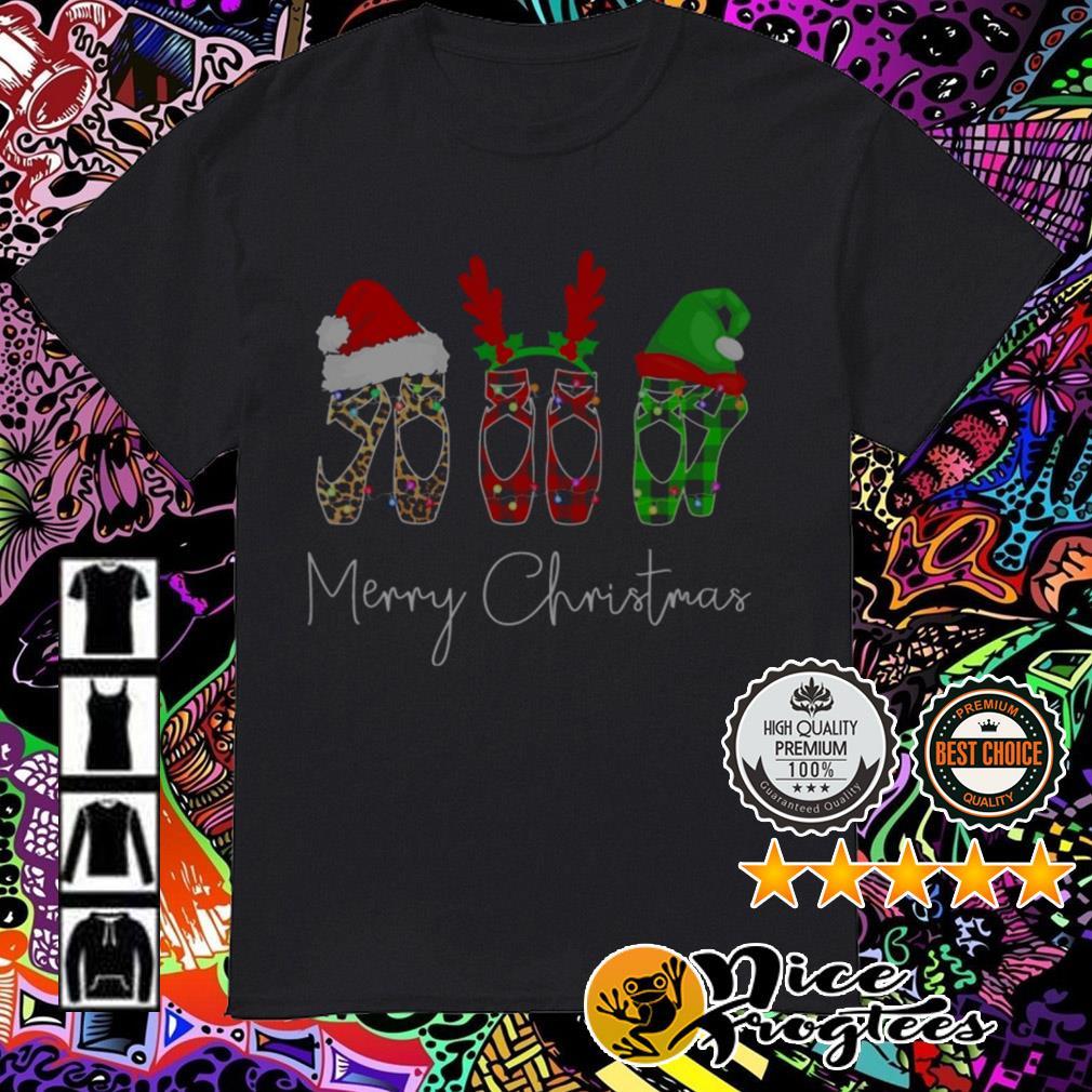 Ballet Shoe Santa reindeer Merry Christmas guys shirt
