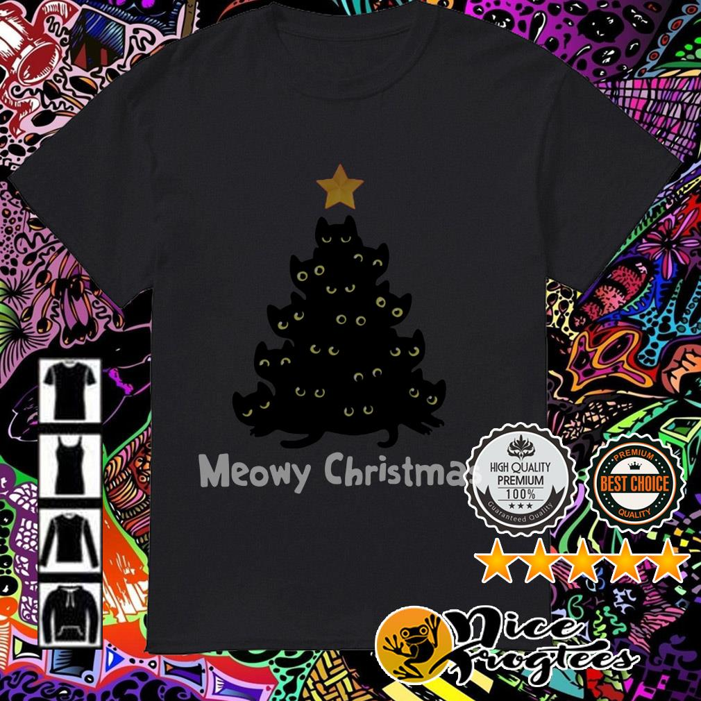 Black cats Meowy Christmas tree guys shirt
