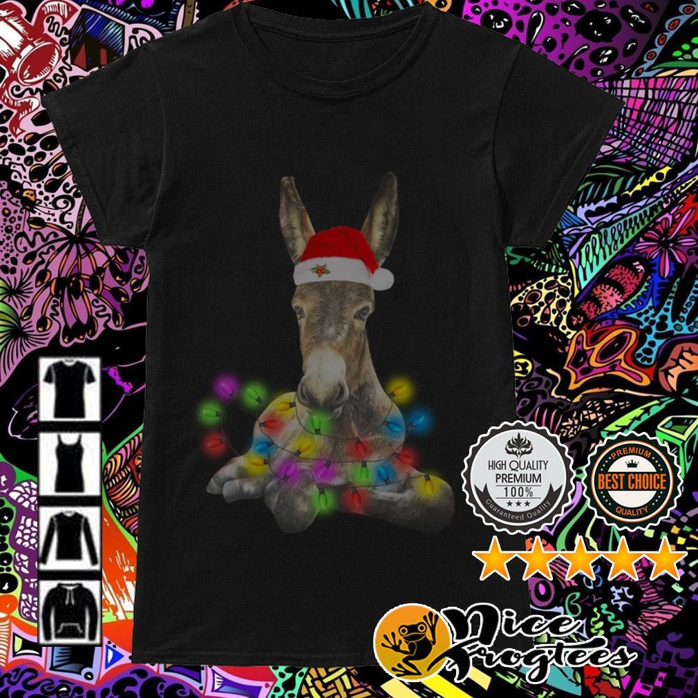 Donkey Santa Light Christmas Ladies Tee