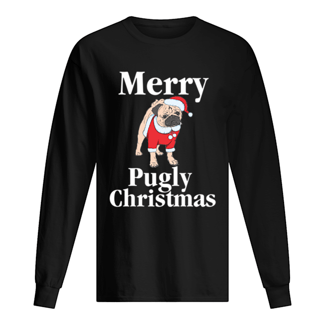 Merry Pugly Christmas Pug Xmas Dog Lover  Long Sleeved T-shirt
