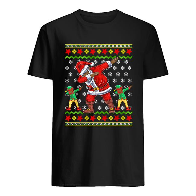 premium-christmas-african-american-dabbing-santa-elf-gift-classic-mens-t-shirt-1