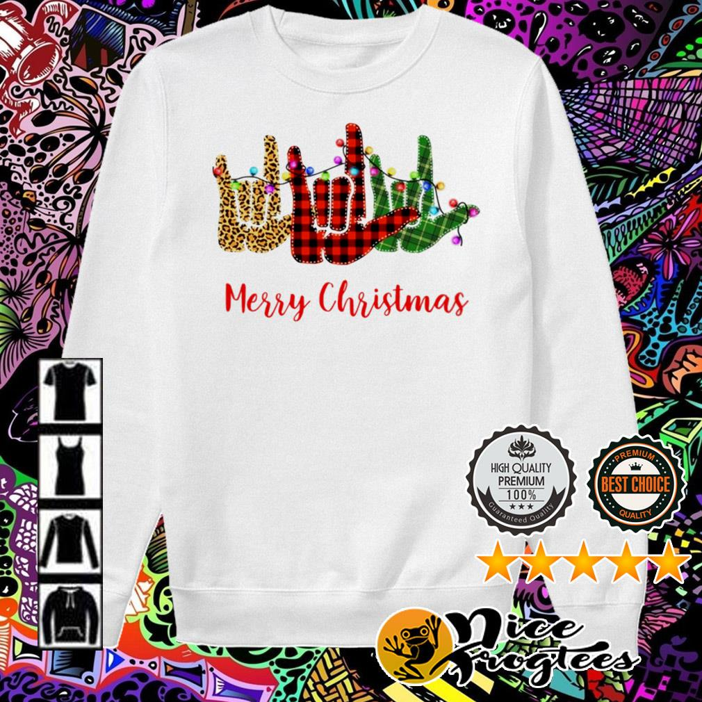 Sign language leopard red Light Merry Christmas Sweater