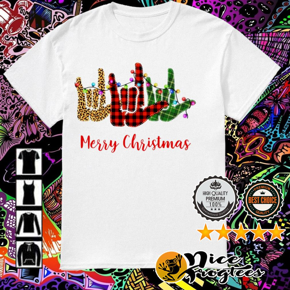 Sign language leopard red Light Merry Christmas guys shirt