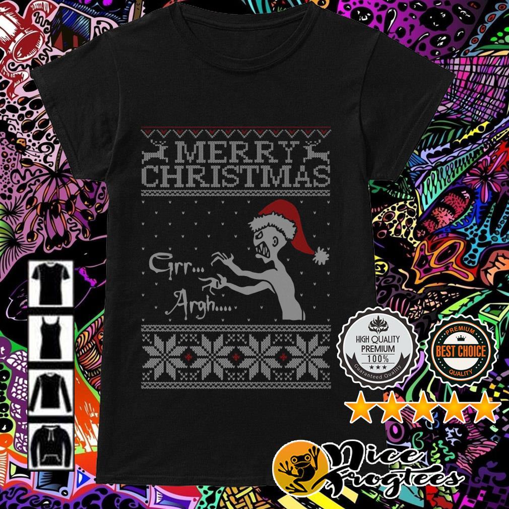 Vampire monster Merry Christmas Grr Argh Ladies Tee