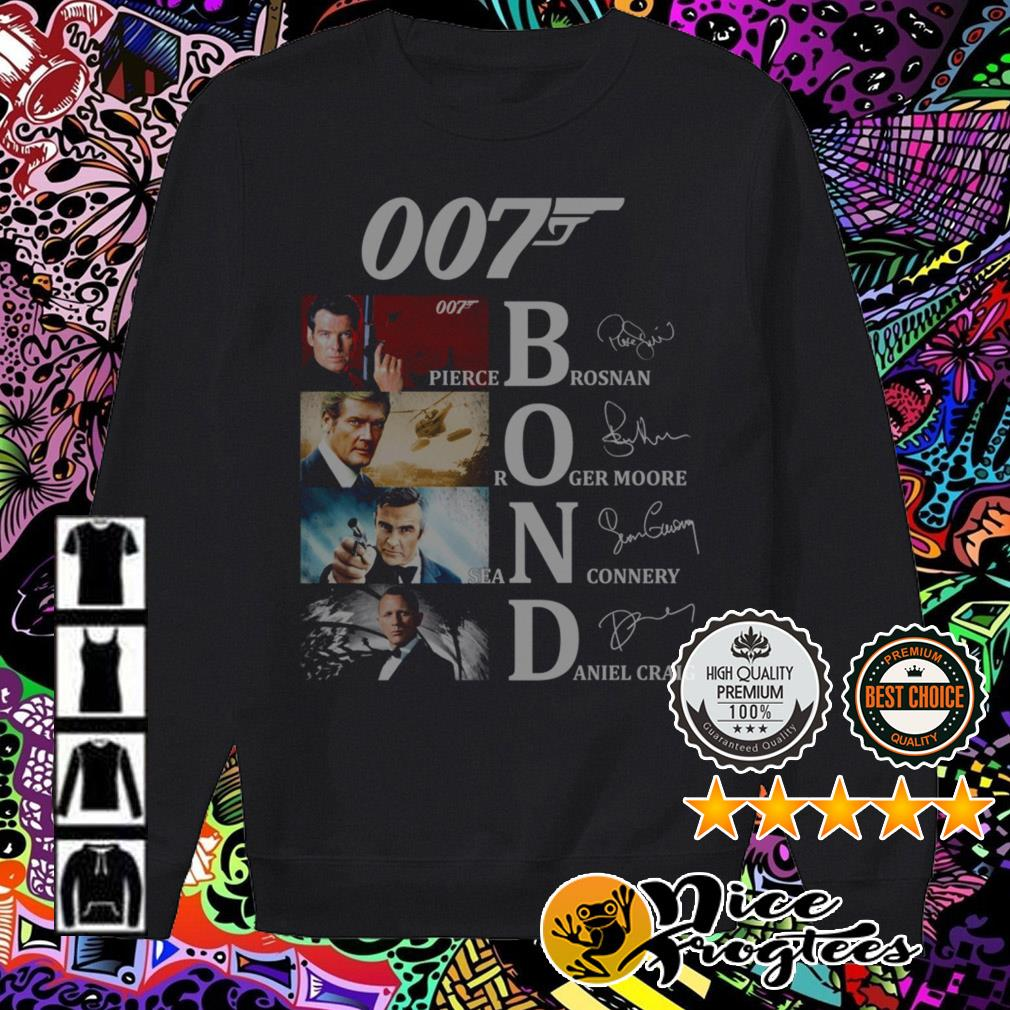 007 Bond Pierce Brosnan Roger Moore Daniel Craig Sean Connery signatures Sweater