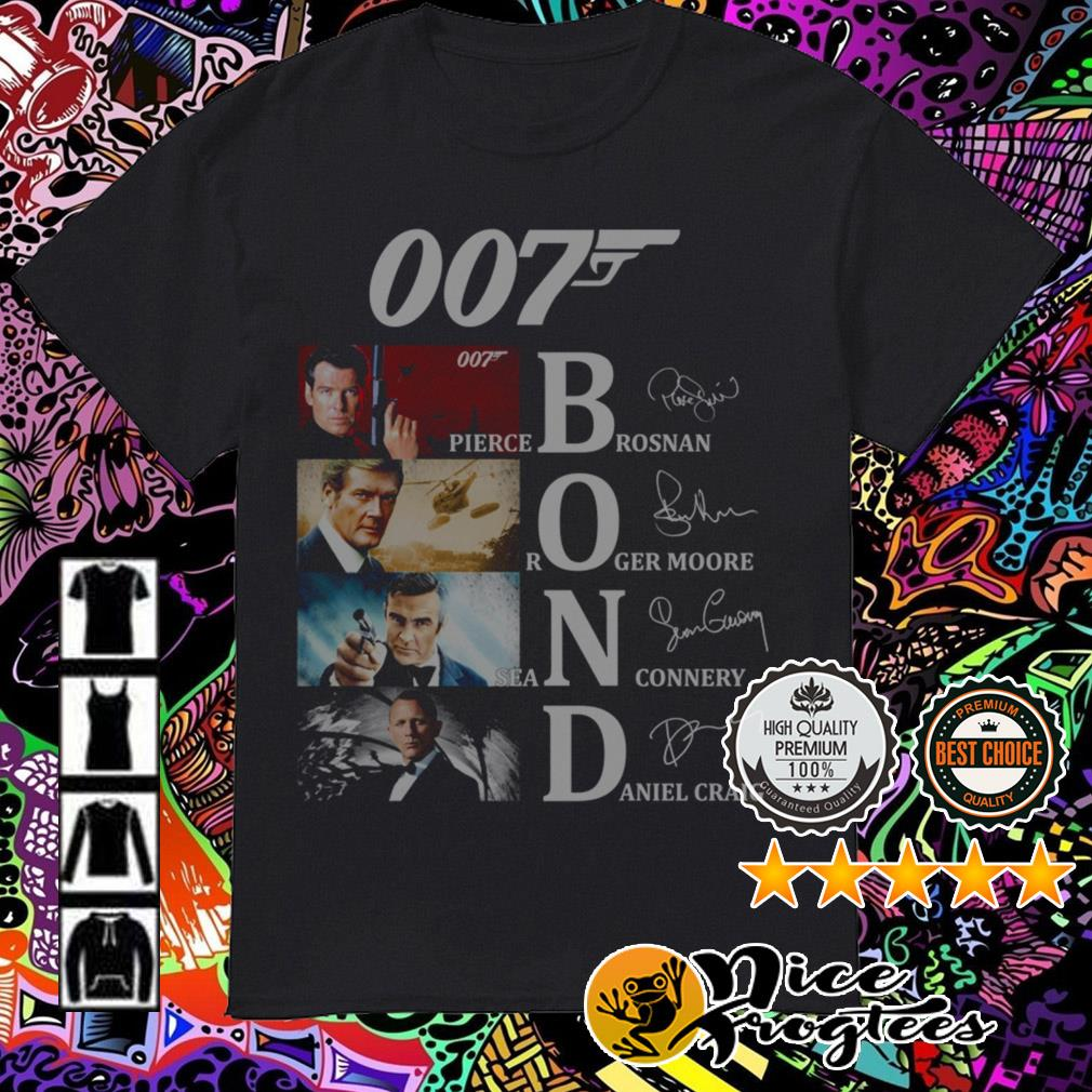 007 Bond Pierce Brosnan Roger Moore Daniel Craig Sean Connery signatures shirt